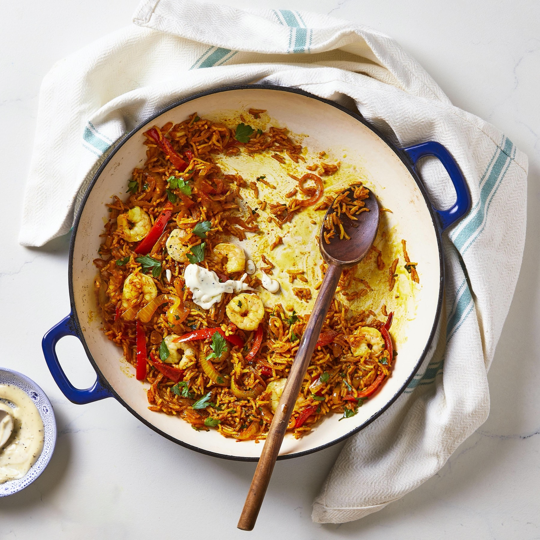 King Prawn Paella With Lemon Aioli Recipe