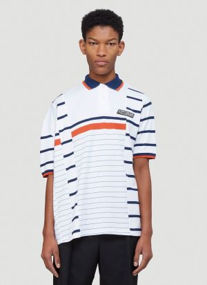 Martine Rose Striped Polo Shirt in White
