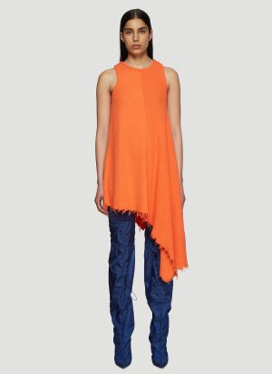 Unravel Project Asymmetric Ribbed Knit Tank Dress in Orange