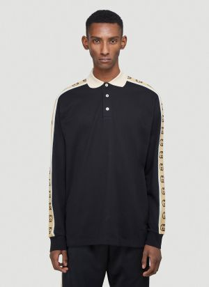 Gucci Logo-Jacquard Long-Sleeved Polo T-Shirt in Black