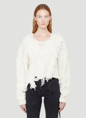 Ottolinger Deconstructed Cable-Knit Sweater in White