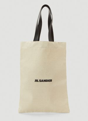 Jil Sander Oversized Flat Canvas Tote Bag in White