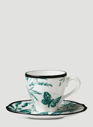 Gucci Herbarium Coffee Cup and Saucer Set in Green