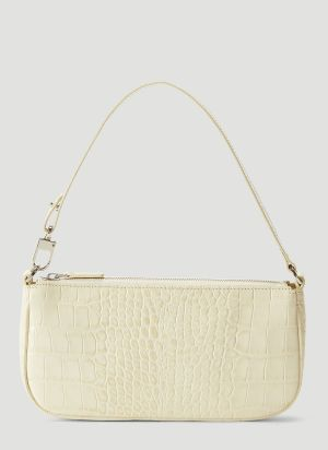 by Far Rachel Crocodile Embossed Shoulder Bag in White