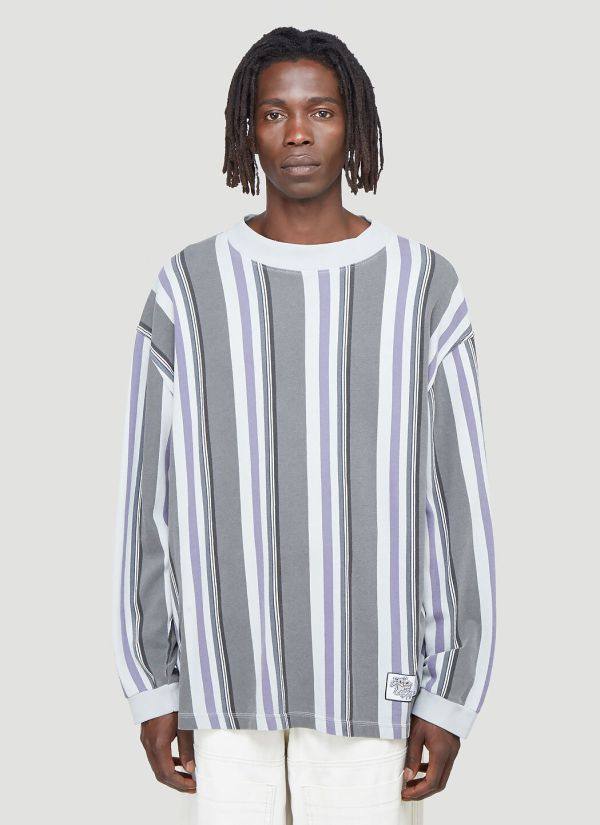 Eytys Oversized Striped Long-Sleeved Top in Grey