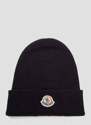 Moncler Logo-Patch Beanie Hat in Blue