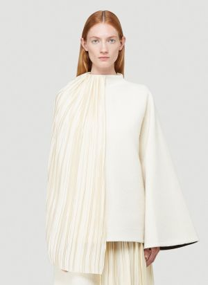 Jil Sander Plissé Cape Top in Beige
