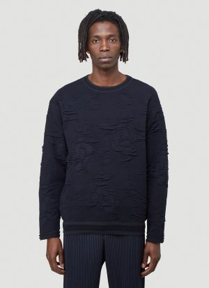 Issey Miyake Men Distressed Knitted Sweater in Blue