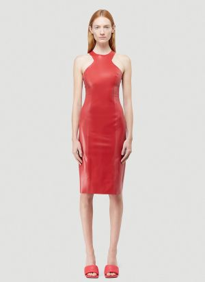 Saint Laurent Latex Dress in Red