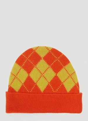 Pringle of Scotland Argyle Beanie Hat in Orange