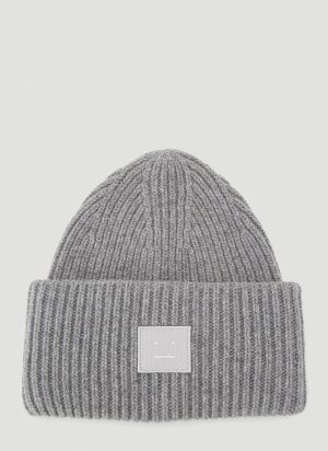 Acne Studios Face Beanie Hat in Grey