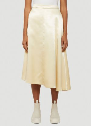Jil Sander Asymmetric Slip Skirt in White