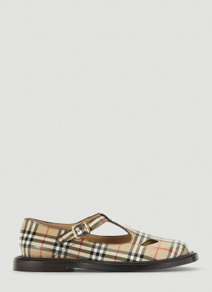 Burberry Vintage-Check T-Bar Shoes in Beige