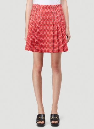 Gucci Daisy Jacquard Pleated Skirt in Red