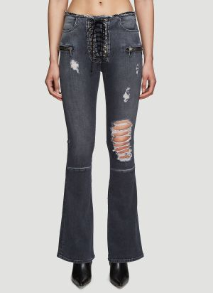 Unravel Project Stonewash Lace-up Jeans in Grey