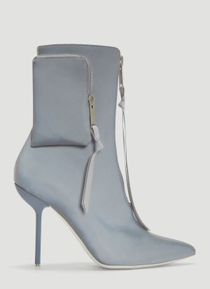 Unravel Project Reflective Side Pocket Stiletto Boots in Grey