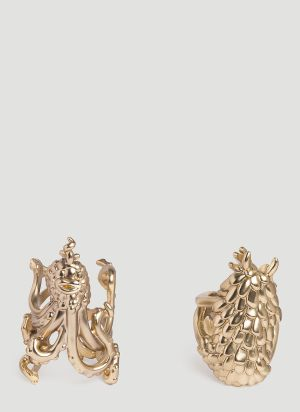 L'Objet Monster Ball Napkin Rings Set in Gold