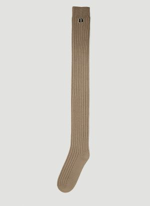 Moncler + Rick Owens Thigh-High Knit Socks in Beige