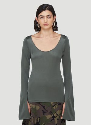 Kwaidan Editions Scoop Neck Top in Green