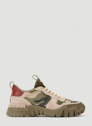 Valentino Camouflage Rockrunner Plus Sneakers in Green