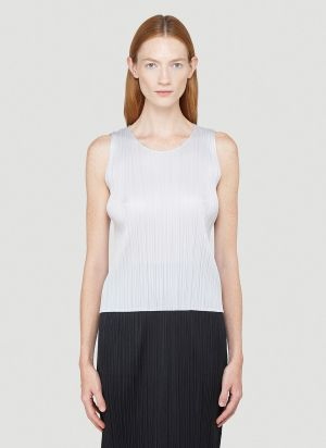 Pleats Please Issey Miyake Basics Tank Top in Grey