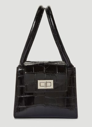 by Far Sabrina Croc-Embossed Handbag in Black