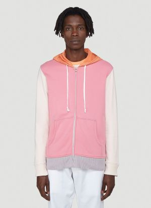 Comme Des Garcons SHIRT Contrast-Panel Zip-Up Sweatshirt in Pink
