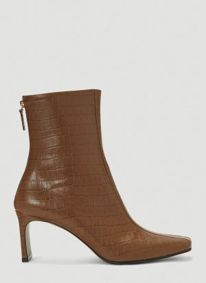 Reike Nen Centre-Seam Embossed Boots in Brown