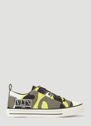 Valentino Giggies Camouflage Sneakers in Yellow