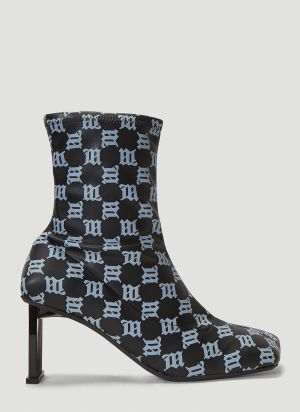 MISBHV Basic Bar Square Ankle Boots in Black