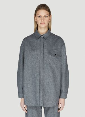 Moncler Oversized Wool Shirt in Grey