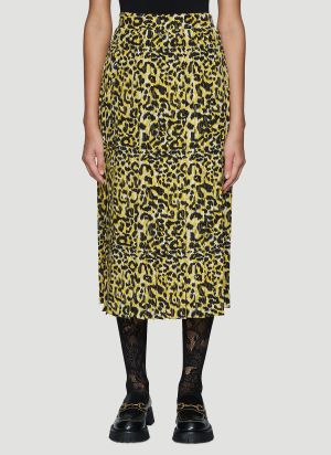 Gucci Leopard Print Silk Skirt in Yellow