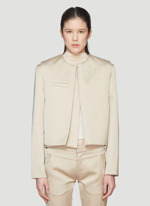 Roni Ilan Satin Cropped Extended Jacket in Beige