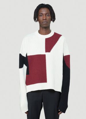 GmbH Colour-Block Knitted Sweater in White