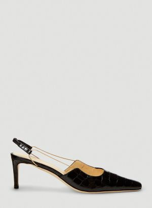 by Far Gabriella Crocodile-Embossed Heels in Black