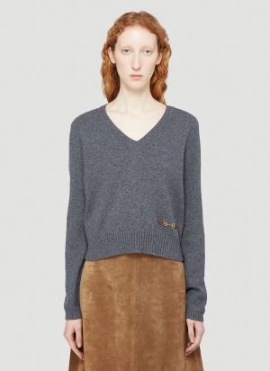 Gucci Horsebit Cashmere Sweater in Grey