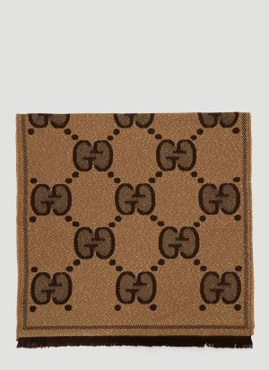 Gucci GG Jacquard Scarf in Brown