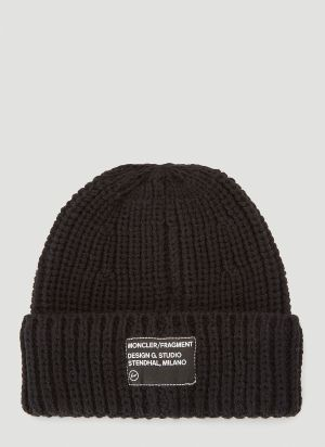 7 Moncler Fragment Logo-Patch Beanie Hat in Black