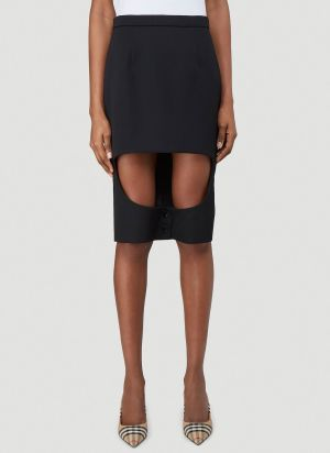 Burberry Step-Through Skirt in Black