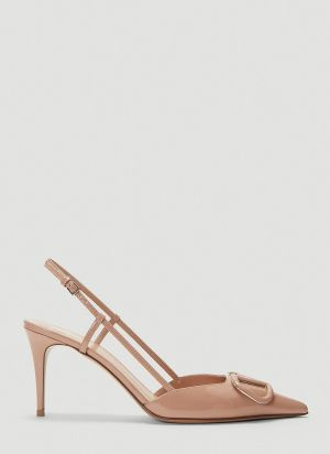 Valentino VLogo Slingback Heeled Pumps in Pink