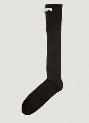 Simone Rocha Embellished Long Socks in Black
