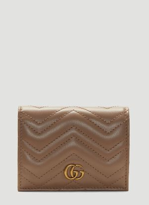 Gucci GG Marmont Leather Wallet in Beige