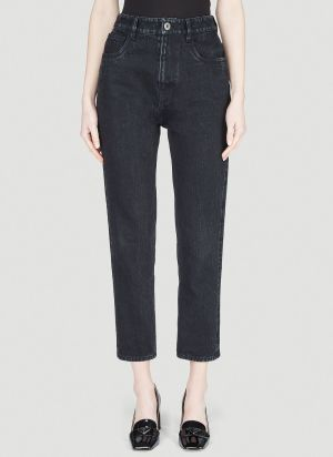 Prada Straight-Leg Cropped Jeans in Black