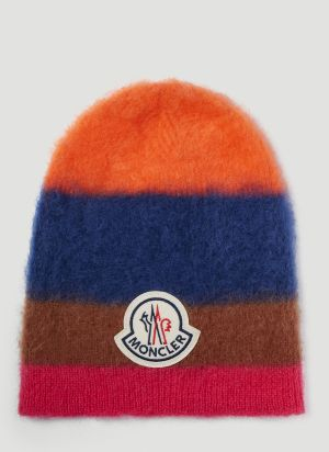 Moncler Textured Beanie Hat in Orange