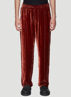 Our Legacy Velvet Track Pants in Red
