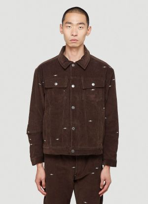 Phipps Embroidered Corduroy Jacket in Brown