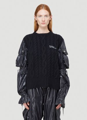Telfar Cargo Sleeve Sweater in Black