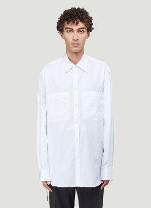 Valentino Open-Side Classic Shirt in White