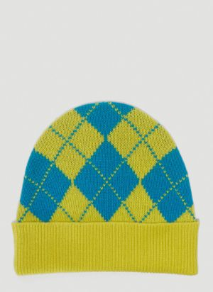 Pringle of Scotland Argyle Beanie Hat in Green