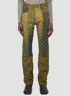 Marine Serre Regenerated Denim Jeans in Yellow